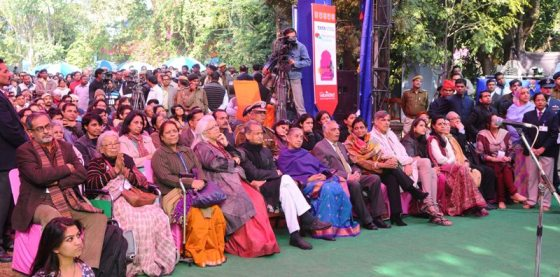 Mahasweta Devi, Ashok Gehlot - CM Rajasthan and Margaret Alva - Governor of Rajasthan at the inaugural ceremony of Jaipur Literature Festival 2013