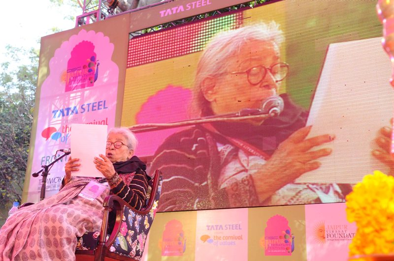 Mahasweta Devi at Jaipur Literature Festival 2013 with her keynote speech - Oh to Live Again