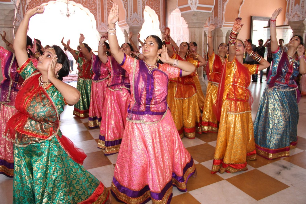 Children performing Kathak dance at the closing ceremony of the art and culture Summer Camp at City Palace.