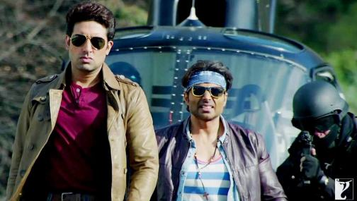 Abhishek Bachchan with Uday Chopra in Dhoom 3