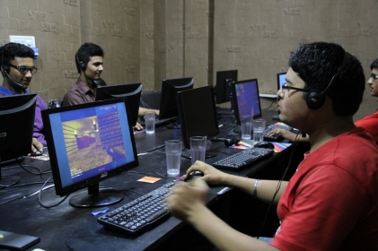 Students enjoying interactive games