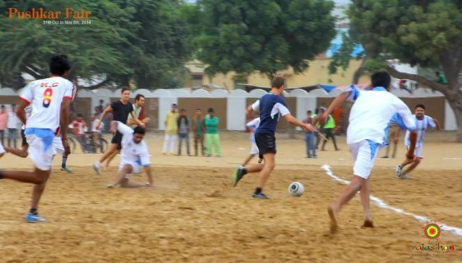 football match at the Pushkar Fair