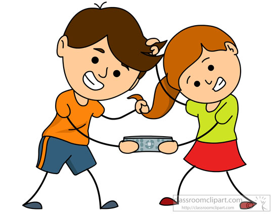 brother and sister fighting for remote clipart
