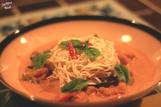 Flat Noodles with red curry