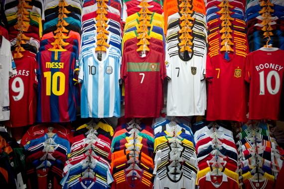 Fake FIFA football jerseys fill the rack