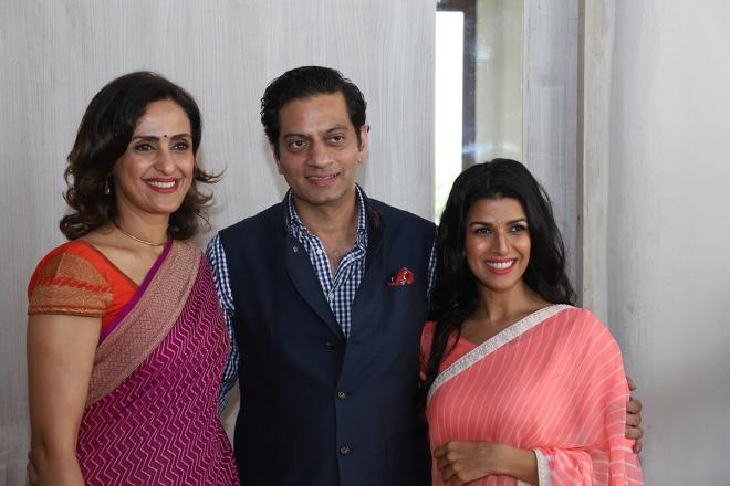 So Much Glamour in One Frame -  Raghavendra Rathore with Shivani Wazir Pasrich and Nimrat Kaur.JPG