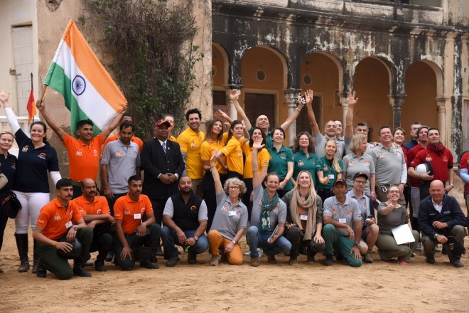 The participating teams during the flag off at Castle Mandawa.jpg